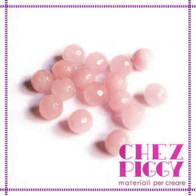1 x perla agata ROSA sfaccettata 10 mm