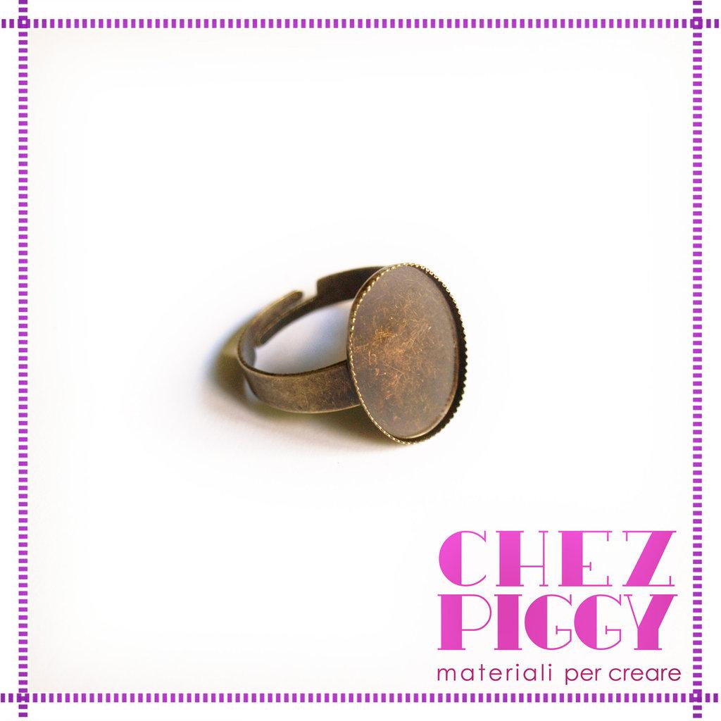 1 x base anello con cameo - color bronzo + vetrino