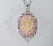 collana cammeo 30x40rosa fiore rosa crema bianco. base decorata in metallo - romantico pin up kawaii rockabilly retro goth lolita