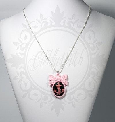 collana. cammeo nero e rosa 25x18 ancora e base fiocco resina - pin up rockabilly kawaii lolita retrò