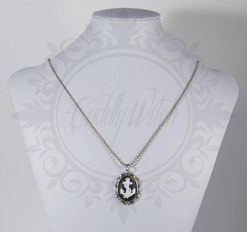 collana. cammeo blu e bianco 25x18 ancora, base metallo ottone bronzo - pin up rockabilly kawaii lolita retrò
