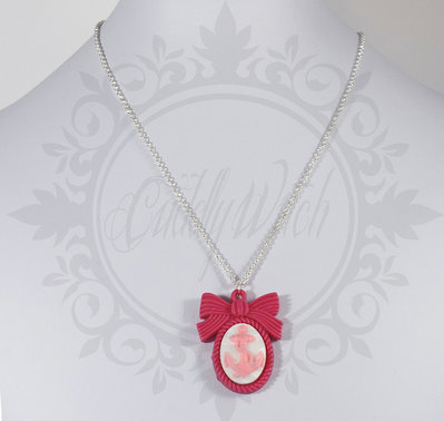 collana. cammeo 25x18 ancora base fiocco resina rosa fuxia bianco - pin up rockabilly kawaii lolita retrò
