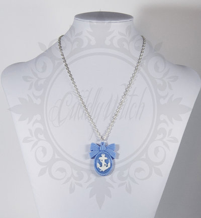 collana. cammeo 25x18 ancora base fiocco resina bianco azzurro - pin up rockabilly kawaii lolita retrò