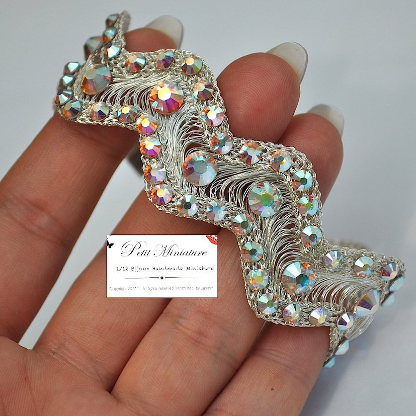 Bracciale wire metal con swarovski originali crystal ab