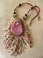 """Collana """"Grande barriera corallina"""" con agata e perline in vetro"""