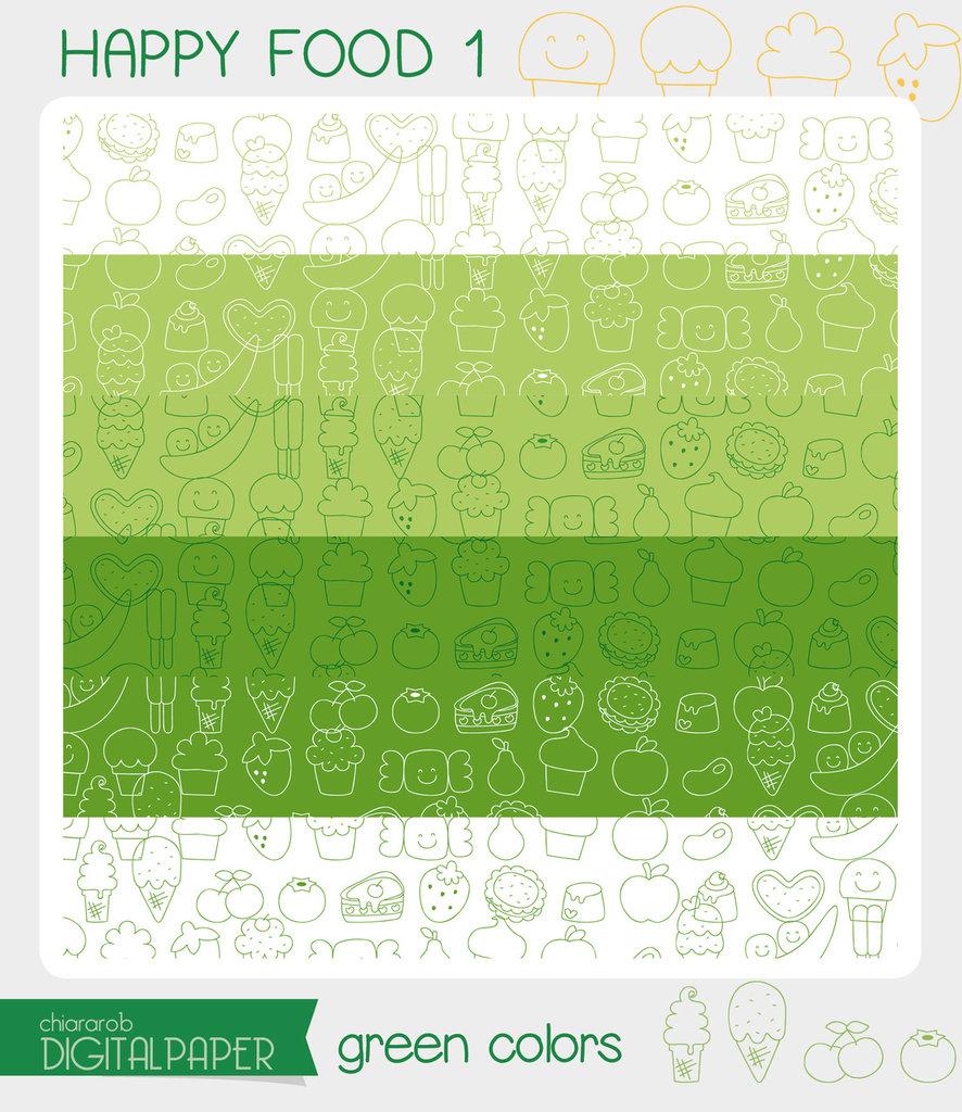 DIGITALPAPER A4 / CARTA DIGITALE Happy food 1 - green colors