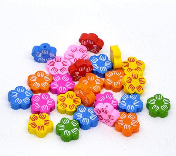 10 perle in legno a fiore mix a coppie 2 cm