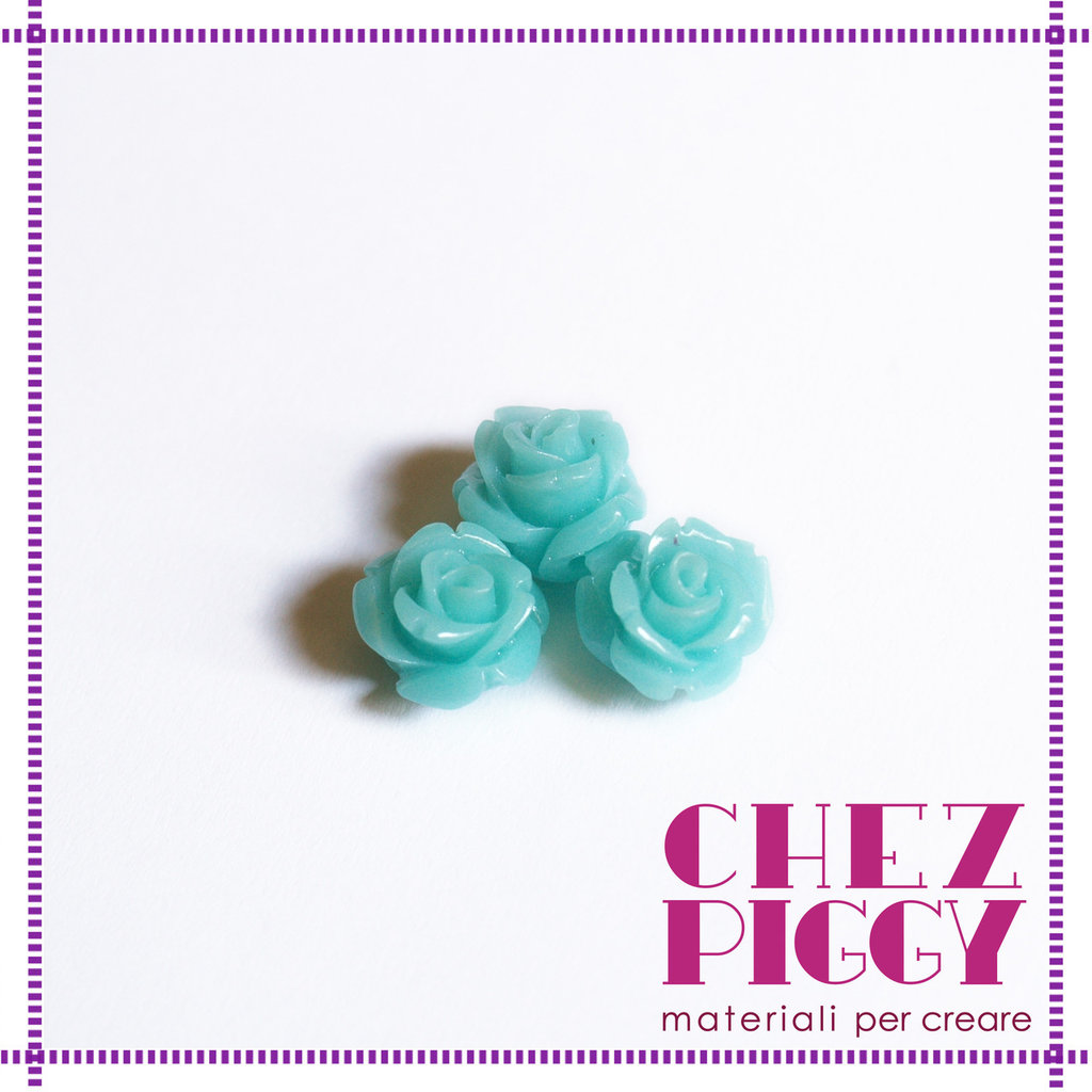 1 x perla a forma di rosa in resina - CELESTE CHIARO