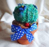 Piantine grasse all'uncinetto fatte a mano  cuscino della suocera blu