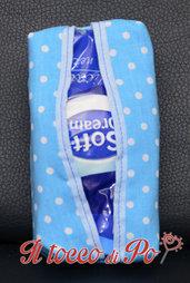 Portafazzoletti in stoffa a pois azzurri, porta cleenex, porta fazzoletti