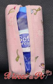 Portafazzoletti in stoffa rosa con fiori, porta cleenex, porta fazzoletti