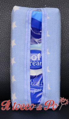 Portafazzoletti in stoffa celeste con stelle, porta cleenex, porta fazzoletti