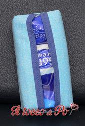 Portafazzoletti in stoffa azzurro celeste, porta cleenex, porta fazzoletti