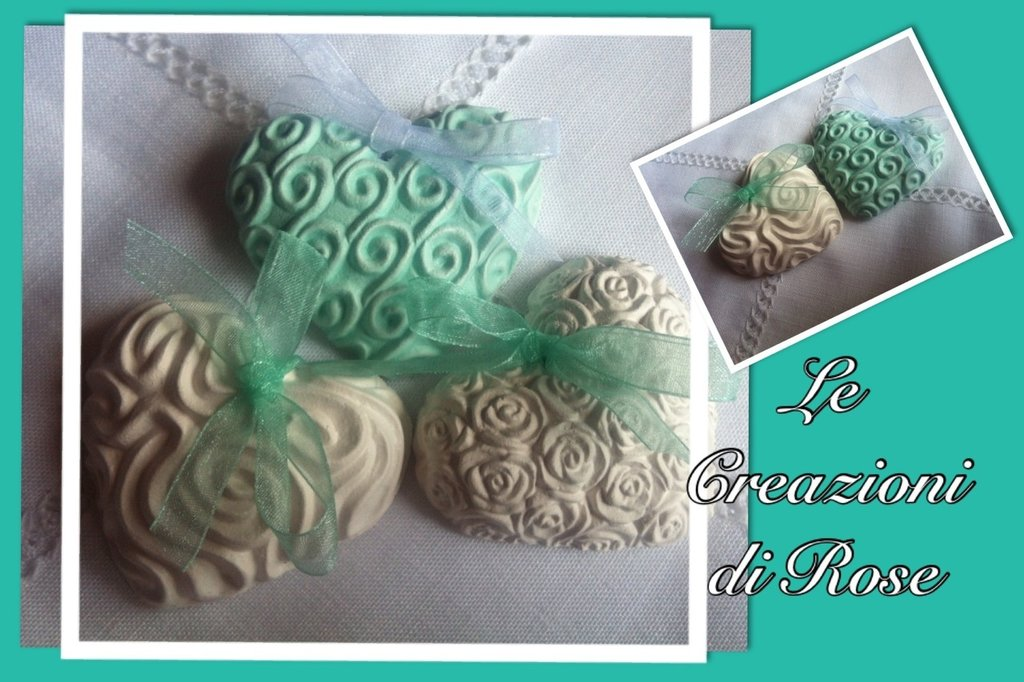 Gessi cuore gessetti profumati bomboniera segnaposto matrimonio verde tiffany