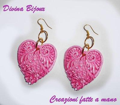 Orecchini a cuore in fimo rosa burlesque style idea regalo compleanno laurea