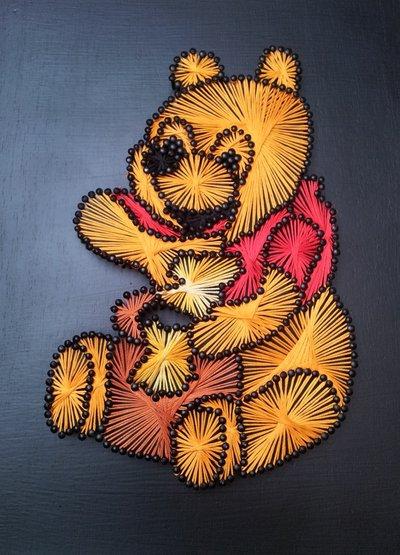 Quadro fatto a mano con fili di seta - Winnie the pooh