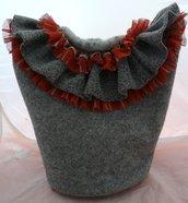 borsa con rouge in organza scozzese