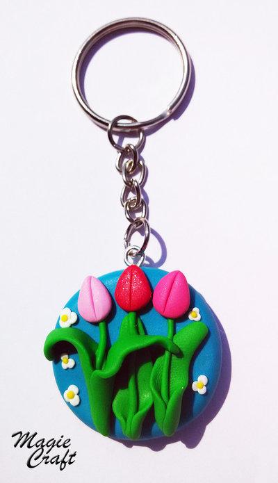 Portachiavi Tulipani in Fimo