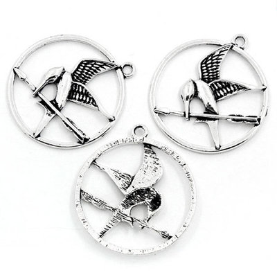 Charms ghiandaia imitatrice argento antico Hunger Games pz 7