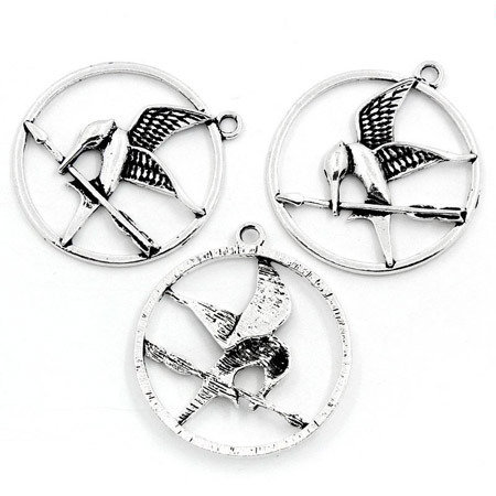 7 Charms ghiandaia imitatrice argento antico Hunger Games