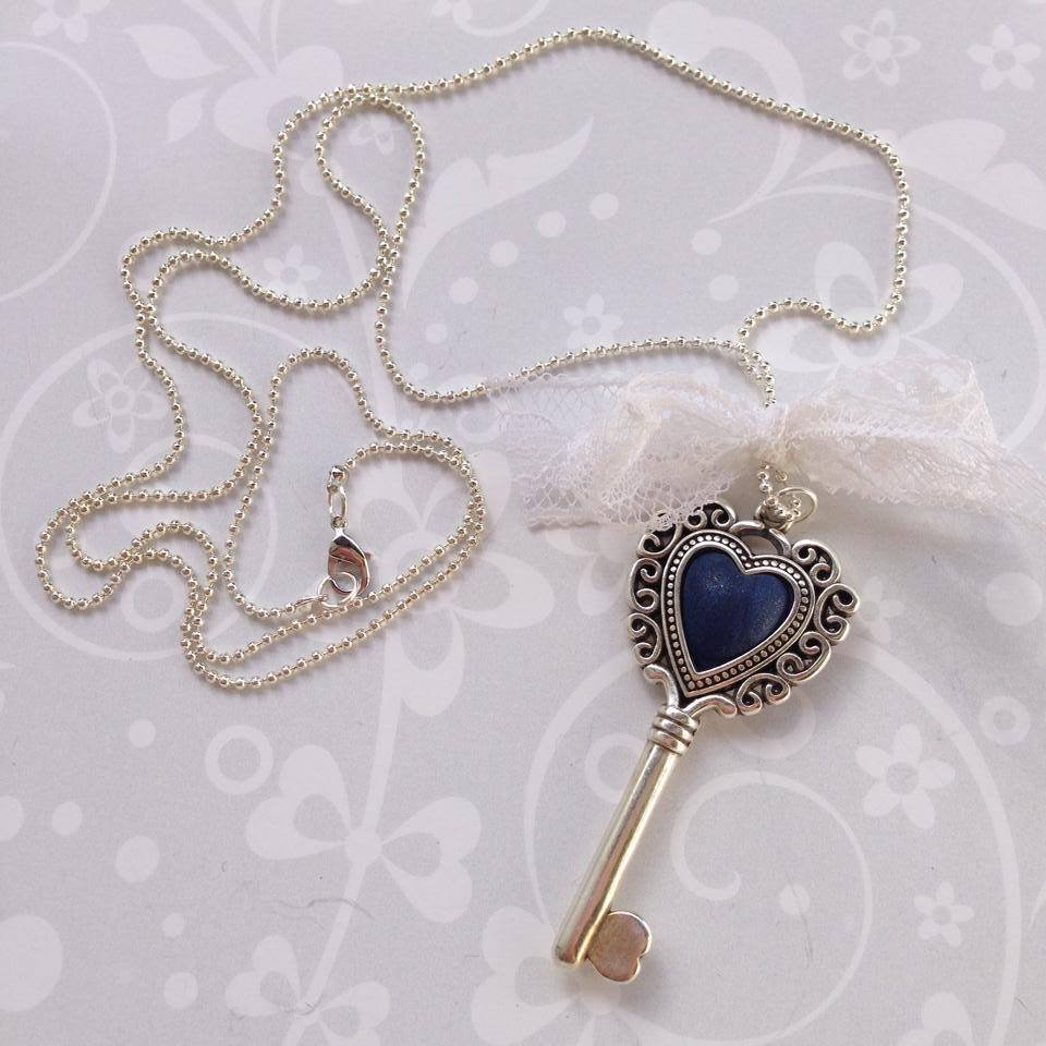 Collana Heart Key Blu