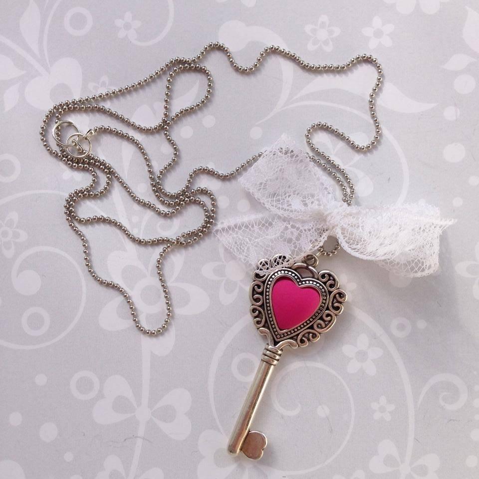 Collana Heart Key Fucsia