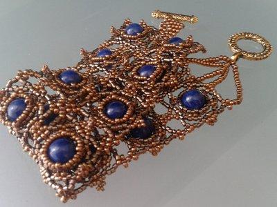 bracciale a fascia perle di giada blu