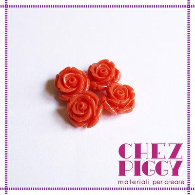 1 x perla a forma di rosa in resina - ARANCIONE