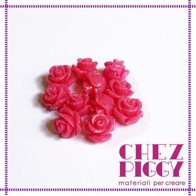 1 x perla a forma di rosa in resina - ROSA SHOCKING
