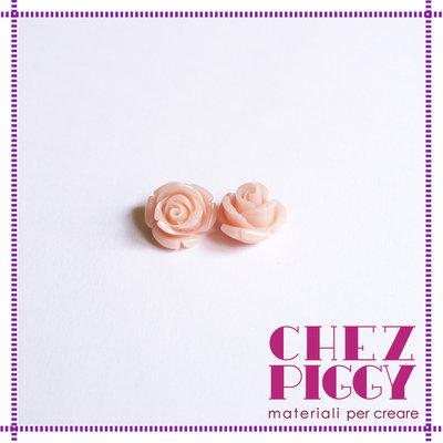 1 x perla a forma di rosa in resina - ROSA CHIARO