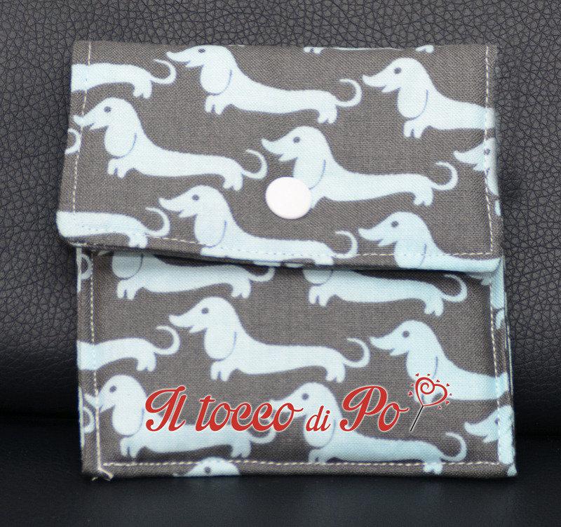 Taschina Pochette Portaspicci portamonete, portasoldi, pochettina cotone 100% fantasia bassotti