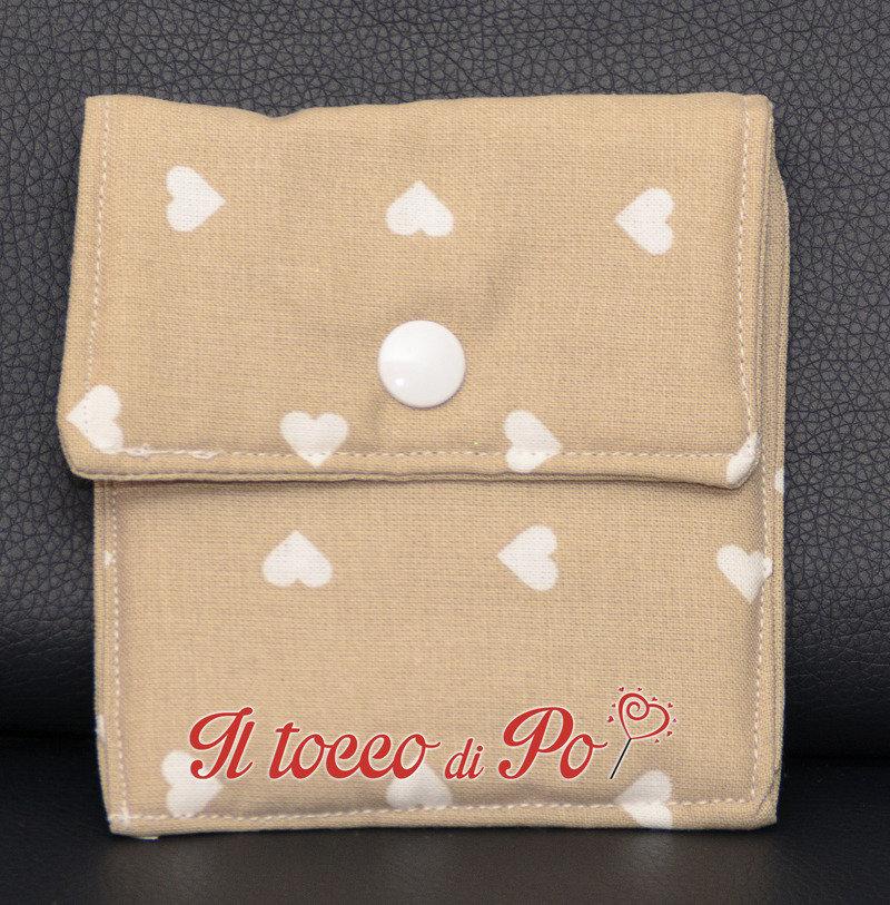 Taschina Pochette Portaspicci portamonete, portasoldi, pochettina cotone 100% fantasia beige a cuori