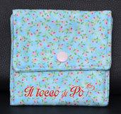 Taschina Pochette Portaspicci portamonete, portasoldi, pochettina cotone 100% fantasia azzurra a fiori