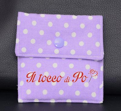Taschina Pochette Portaspicci portamonete, portasoldi, pochettina cotone 100% fantasia lilla a pois