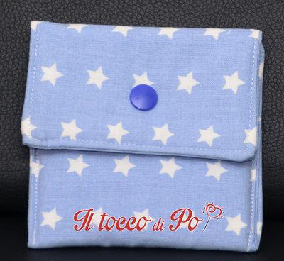Taschina Pochette Portaspicci portamonete, portasoldi, pochettina cotone 100% fantasia azzurra con stelle