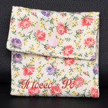 Taschina Pochette Portaspicci portamonete, portasoldi, pochettina cotone 100% fantasia bianca a fiori