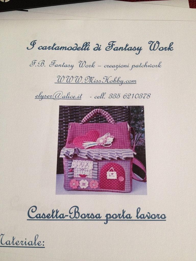 Cartamodello borsa - casetta porta lavoro