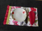 Coppia di tovagliette  americane in tessuto collezione PAPAVERI e FARFALLE.