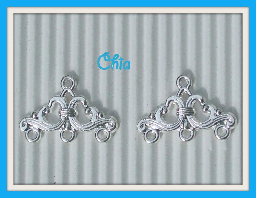 2 basi connettori orecchini chandelier 24x16mm