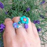 Anello fiore e perle di fimo fatto a mano
