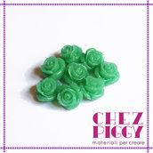 1 x perla a forma di rosa in resina - VERDE ACQUA