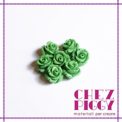 1 x perla a forma di rosa in resina - VERDE CHIARO