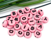26 perle perline  lettere  alfabeto (1 set)colore rosa 7 mm
