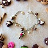 Bracciale con ciondoli dolcetti e perle e cristalli