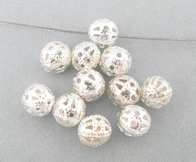 20 perle perline in filigrana 6 mm argentate
