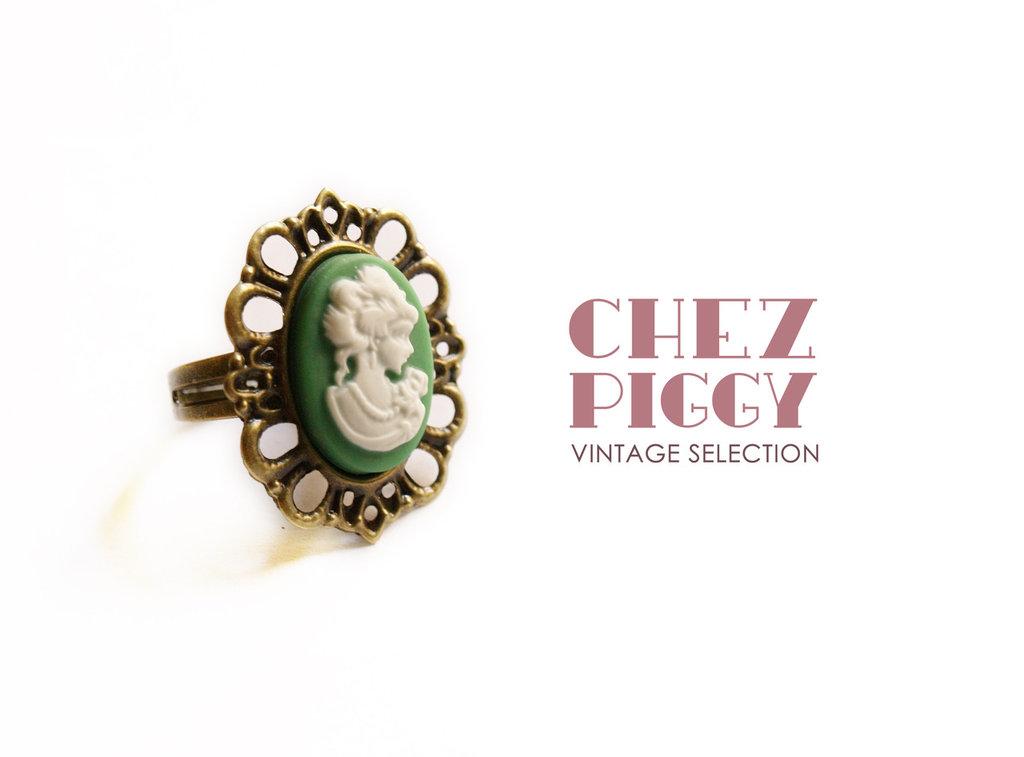 Anello stile vintage - cameo Verde