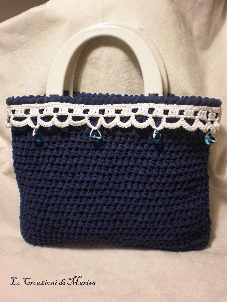 borsa blu estiva fettuccia e uncinetto