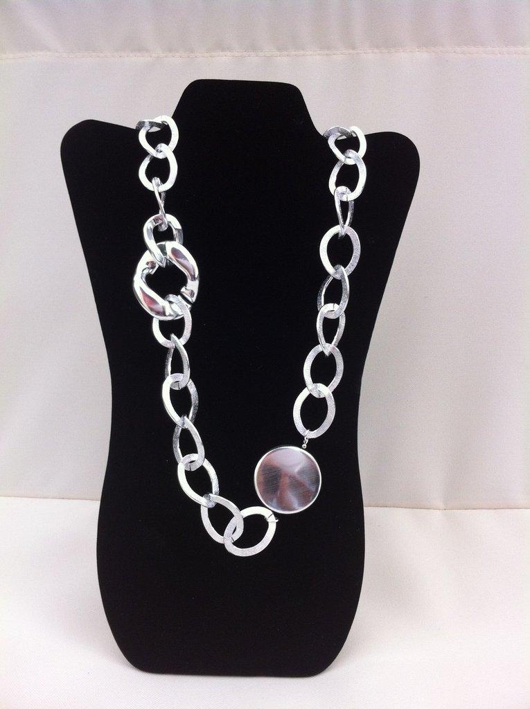 Collana lunga color argento catena argento