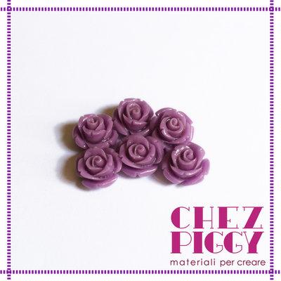 1 x perla a forma di rosa in resina - VIOLA LILLA