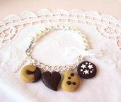 Bracciale biscotti al cioccolato e perle